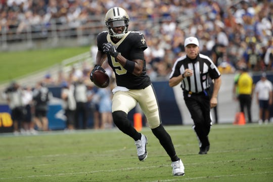 New Orleans Saints quarterback Teddy Bridgewater runs against the Los Angeles Rams during the first half of an NFL football game Sunday, Sept. 15, 2019, in Los Angeles. (AP Photo/Marcio Jose Sanchez)