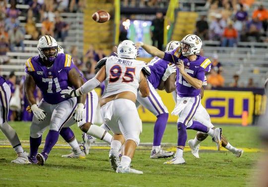 Sep 14, 2019; Baton Rouge, LA, USA; LSU Tigers quarterback Myles Brennan (15) throws against the Northwestern State Demons during the fourth quarter at Tiger Stadium. Mandatory Credit: Derick E. Hingle-USA TODAY Sports