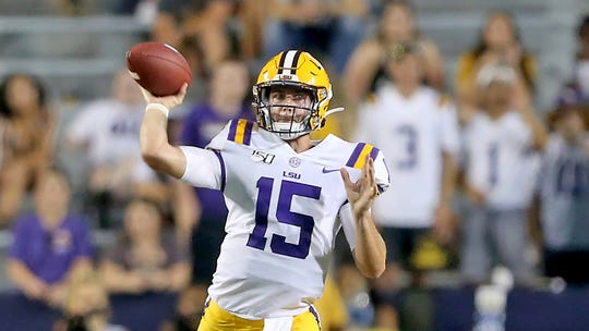 LSU Tigers quarterback Myles Brennan (15) during an NCAA football game between the Georgia Southern Eagles and Louisiana State University Tigers in Baton Rouge, La., Saturday, Aug. 31, 2019. (AP Photo/Michael Democker)