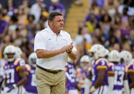 Sep 14, 2019; Baton Rouge, LA, USA; LSU Tigers head coach Ed Orgeron prior to kickoff against the Northwestern State Demons at Tiger Stadium. Mandatory Credit: Derick E. Hingle-USA TODAY Sports