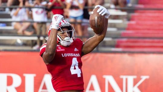 Raymond Calais scores a touchdown as Louisiana Ragin Cajuns take on Texas Southern. Saturday, Sept. 14, 2019.