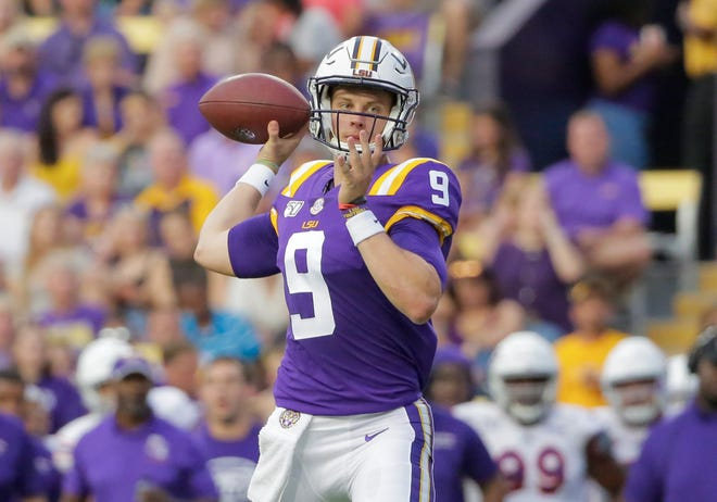 Sep 14, 2019; Baton Rouge, LA, USA; LSU Tigers quarterback Joe Burrow (9) throws against the Northwestern State Demons during the first quarter at Tiger Stadium. Mandatory Credit: Derick E. Hingle-USA TODAY Sports