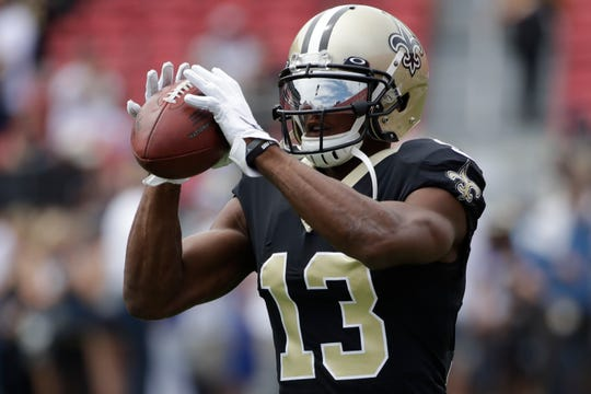 New Orleans Saints wide receiver Michael Thomas warms up before an NFL football game against the Los Angeles Rams Sunday, Sept. 15, 2019, in Los Angeles. (AP Photo/Marcio Jose Sanchez)