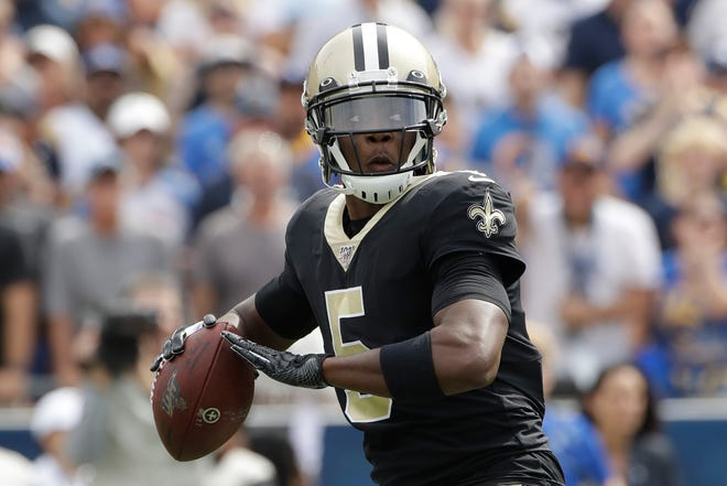 New Orleans Saints quarterback Teddy Bridgewater passes against the Los Angeles Rams during the first half of an NFL football game Sunday, Sept. 15, 2019, in Los Angeles. (AP Photo/Marcio Jose Sanchez)