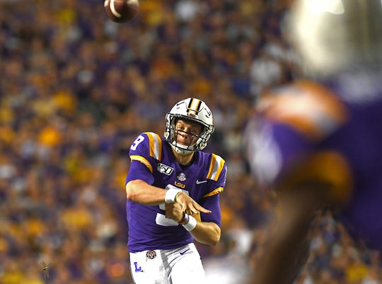 LSU quarterback Joe Burrow (9) throws in the first half of an NCAA college football game against Northwestern State, Saturday, Sept. 14, 2019, in Baton Rouge, La. (AP Photo/Patrick Dennis)