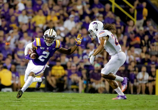 Sep 14, 2019; Baton Rouge, LA, USA; LSU Tigers wide receiver Justin Jefferson (2) runs after a catch against the Northwestern State Demons during the second quarter at Tiger Stadium. Mandatory Credit: Derick E. Hingle-USA TODAY Sports