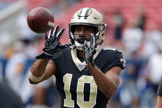 New Orleans Saints wide receiver Tre'Quan Smith warms up before an NFL football game against the Los Angeles Rams Sunday, Sept. 15, 2019, in Los Angeles. (AP Photo/Marcio Jose Sanchez)