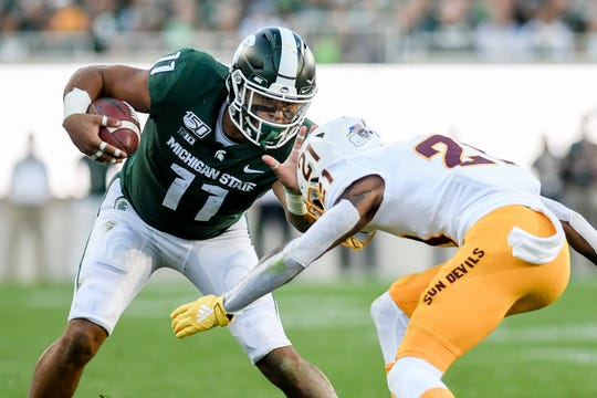 Michigan State's Connor Heyward, left, tries to get around Arizona State's Jack Jones during the third quarter on Saturday, Sept. 14, 2019, in East Lansing.