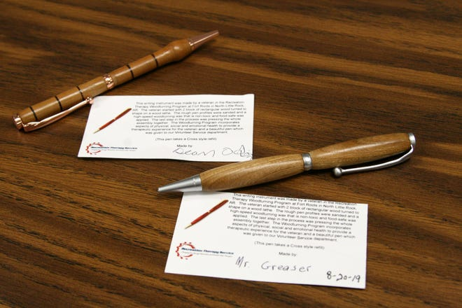 Alyssa Welch brings pieces completed by the members of her woodturning group from Veterans Administration Hospital in North Little Rock. Each woodturner attaches a card explaining their process, along with their name for the recipient.