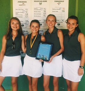 Mountain Home Lady Bombers Madilyn Smith (from left), Sydney Czanstkowski, Kennedy Wyatt and Ella Brashears won the Hurricane Classic golf tournament on Saturday in Jonesboro.
