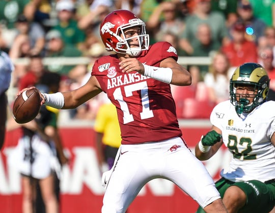 Arkansas quarterback Nick Starkel prepares to pass against Colorado State on Saturday in Fayetteville.