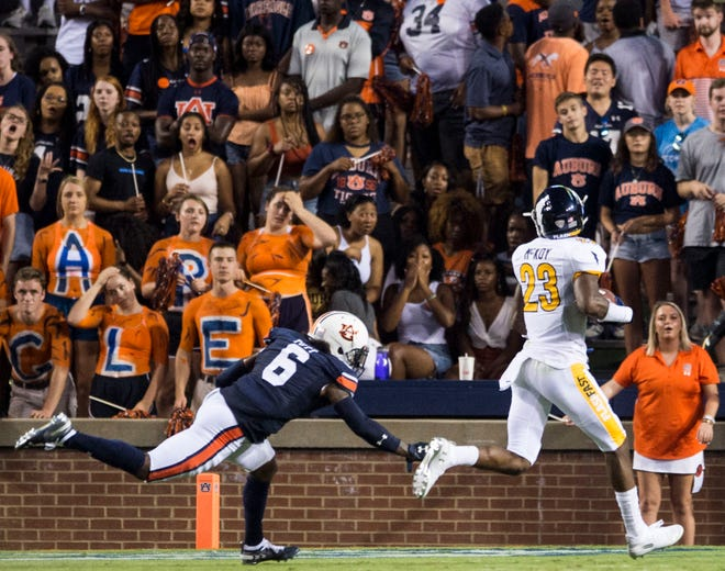 Kent State wide receiver Isaiah McKoy catches a touchdown pass during a game played last season at Auburn.