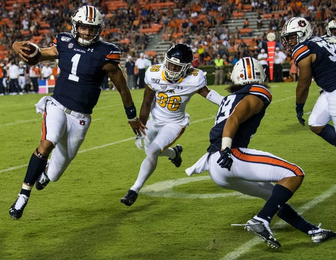Auburn quarterback Joey Gatewood (1) runs into the end zone for his first of two fourth quarter touchdowns at Jordan-Hare Stadium in Auburn, Ala., on Saturday, Sept. 14, 2019. Auburn defeated Kent State 55-16.