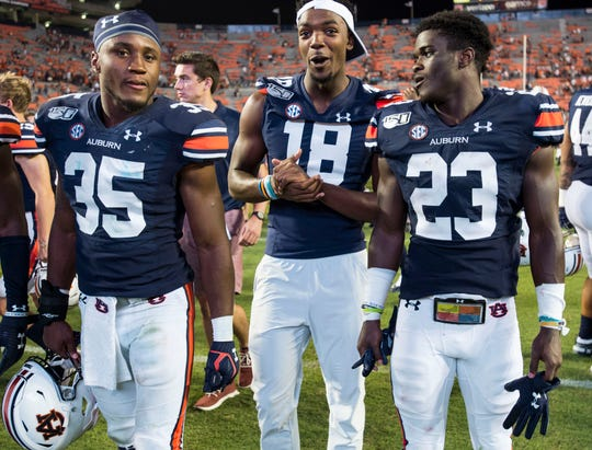 Auburn wide receiver Seth Williams (18) did not suit up for the game at Jordan-Hare Stadium in Auburn, Ala., on Saturday, Sept. 14, 2019. Auburn defeated Kent State 55-16.