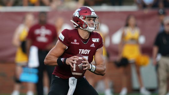 Troy quarterback Kaleb Barker against Southern Miss on Saturday, Sept. 14, 2019 in Troy, Ala. (AP Photo/Marvin Gentry)