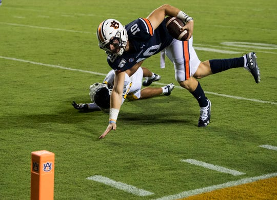 Auburn quarterback Bo Nix (10) comes up short as he attempts to run into the end zone at Jordan-Hare Stadium in Auburn, Ala., on Saturday, Sept. 14, 2019. Auburn leads Kent State 24-10 at halftime.