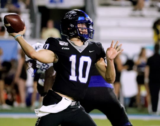 MTSU quarterback Asher O'Hara (10) passes the ball during the game against Duke on Saturday Sept. 14, 2019, at MTSU.