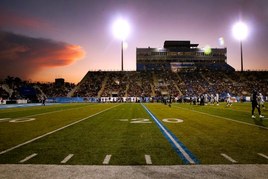 "The sun sets behind Johnny ""Red"" Floyd Stadium as MTSU plays Duke on Saturday Sept. 14, 2019, at MTSU."