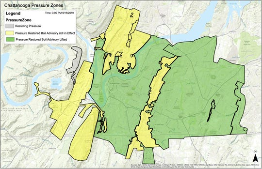 A map showing where the boil water advisory in Chattanooga has been lifted as of 3 p.m. Sunday, Sept. 15. Green areas had the advisory lifted; yellow areas were still under advisory.