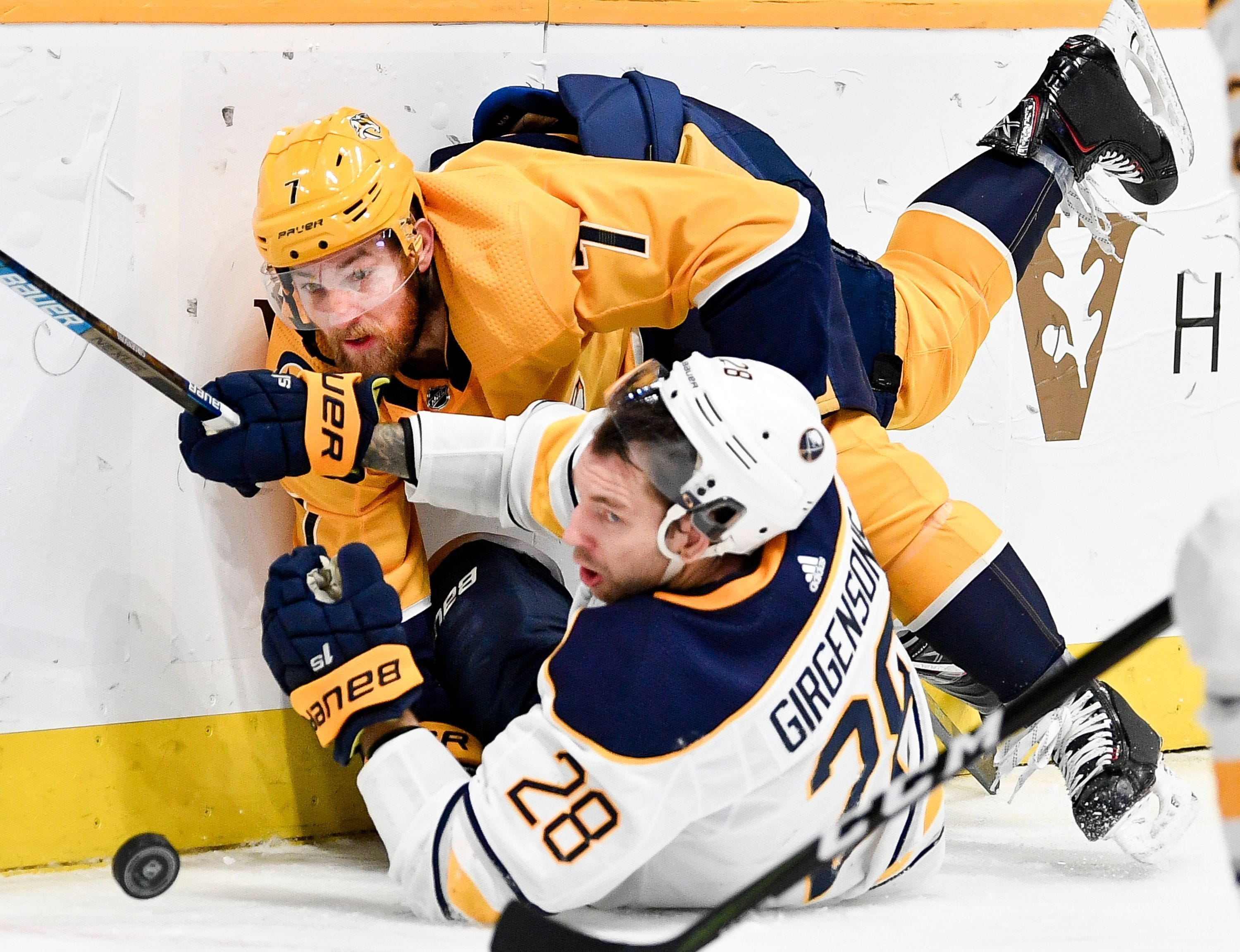 Predators player rep Yannick Weber stays busy during...