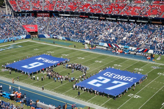 Halftime ceremonies to retire the jersey numbers of former Tennessee Titans stars Eddie George and Steve McNair at Nissan Stadium Sunday, Sept. 15, 2019 in Nashville, Tenn.