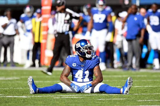 New York Giants safety Antoine Bethea (41) reacts after nearly intercepting a pass from Buffalo Bills quarterback Josh Allen (not pictured) in the second half. The New York Giants lost their home opener against the Buffalo Bills, 28-14, on Sunday, Sept. 15, 2019, in East Rutherford.
