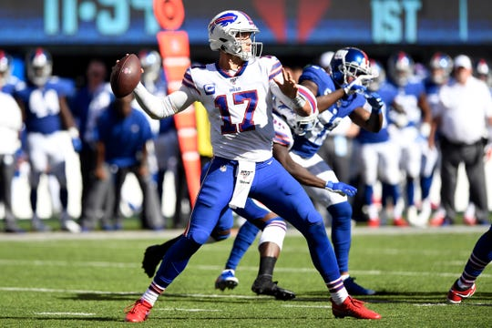 Buffalo Bills quarterback Josh Allen (17) throws against the New York Giants in the second half. The Giants lost their home opener against the Bills, 28-14, on Sunday, Sept. 15, 2019, in East Rutherford.