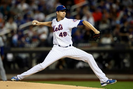 New York Mets starting pitcher Jacob deGrom delivers against the Los Angeles Dodgers during the first inning of a game, Saturday, Sept. 14, 2019, in New York.