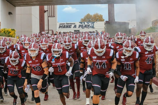 The New Mexico State University Aggies face off against San Diego State Aztec Warriors at Aggie Memorial Stadium in Las Cruces on Saturday, Sept. 14, 2019.