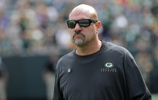 Green Bay Packers defensive coordinator Mike Pettine is shown before their game against the Minnesota Vikings Sunday. September 15, 2019 at Lambeau Field in Green Bay, Wis.  MARK HOFFMAN/MILWAUKEE JOURNAL SENTINEL