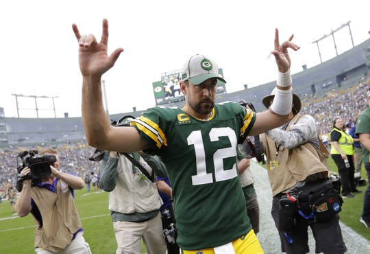 Green Bay Packers quarterback Aaron Rodgers (12) celebrates a 21-16 victory against the Minnesota Vikings during their football game Sunday, September 15, 2019, at Lambeau Field in Green Bay, Wis.