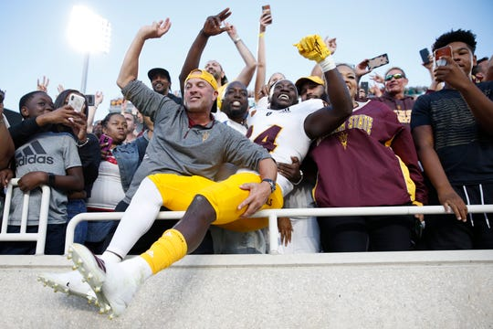 Frank Darby #84 of the Arizona State Sun Devils celebrates with fans after the game against the Michigan State Spartans at Spartan Stadium on September 14, 2019 in East Lansing, Michigan. Arizona State defeated Michigan State 10-7.