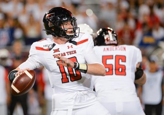 Sep 14, 2019; Tucson, AZ, USA; Texas Tech Red Raiders quarterback Alan Bowman (10) attempts a pass during the first half against the Arizona Wildcats at Arizona Stadium. Mandatory Credit: Casey Sapio-USA TODAY Sports