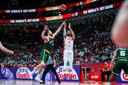 Ricky Rubio shot 38.7% from 3 in the FIBA World Cup for Spain