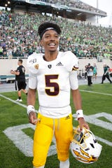 EAST LANSING, MI - SEPTEMBER 14: Jayden Daniels #5 of the Arizona State Sun Devils reacts after the game against the Michigan State Spartans at Spartan Stadium on September 14, 2019 in East Lansing, Michigan. Arizona State defeated Michigan State 10-7.