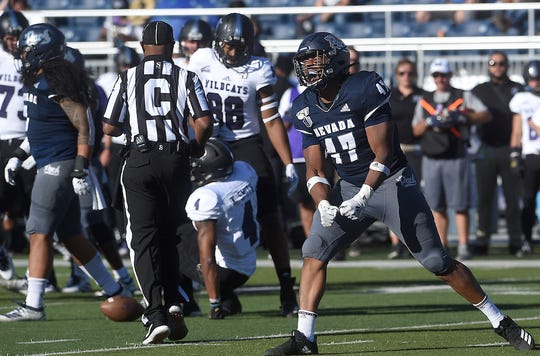 Nevada's Kameron Toomer (47) reacts during the Wolf Pack's game against Weber State on Saturday.