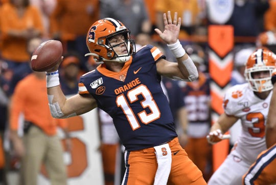 Syracuse Orange quarterback Tommy DeVito (13) throws a pass during the first quarter against the Clemson Tigers at the Carrier Dome.