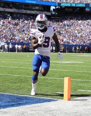 Isaiah McKenzie of the Buffalo Bills scores a second quarter touchdown against the New York Giants on Sunday.