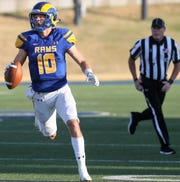 Angelo State University quarterback Payne Sullins looks for an open receiver during a game against Simon Fraser at LeGrand Stadium at 1st Community Credit Union Stadium Saturday, Sept. 14, 2019.