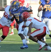 """Angelo State University running back Lloyd """"Bam"""" Howard ran for 130 yards and two touchdowns in a win against Simon Fraser at LeGrand Stadium at 1st Community Credit Union Field Saturday, Sept. 14, 2019."""