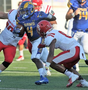 "Angelo State University running back Lloyd ""Bam"" Howard ran for 130 yards and two touchdowns in a win against Simon Fraser at LeGrand Stadium at 1st Community Credit Union Field Saturday, Sept. 14, 2019."