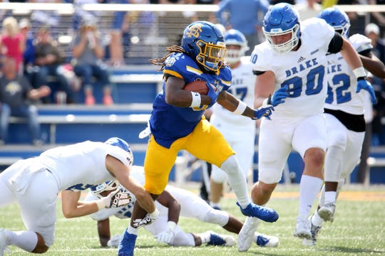 CJ Wilson rushed for 117 yards in SDSU's win over Drake on Saturday