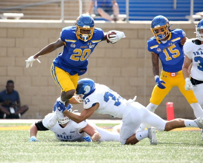 Pierre Strong breaks a tackle in SDSU's win over Drake on Saturday at Dana J. Dykhouse Stadium