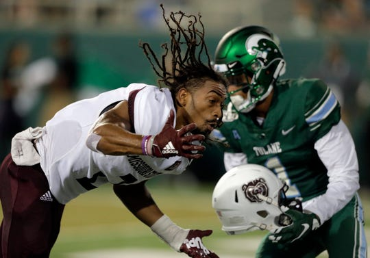 Tulane wide receiver Jalen McCleskey (1) is called for grabbing the helmet of Missouri State cornerback Darius Joseph (2) during an NCAA college football game Saturday, Sept. 14, 2019, in New Orleans.