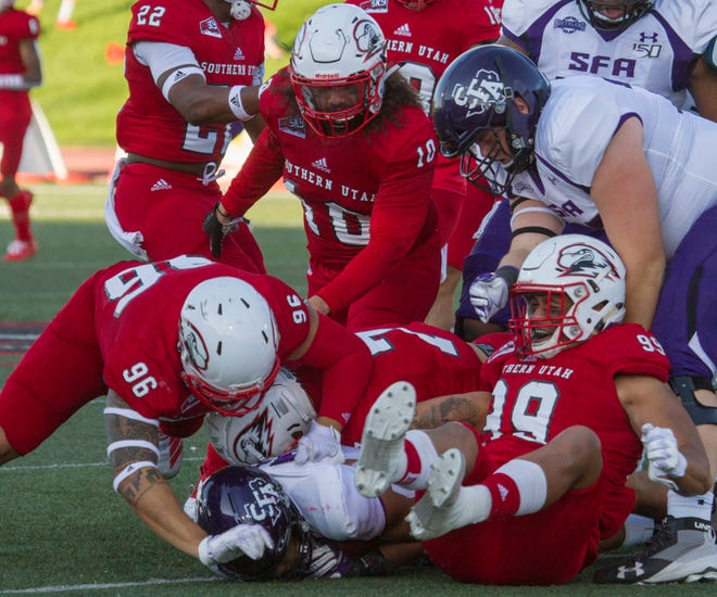 Kotoni Sekona (99) was one of a few young players that keyed an almost comeback by SUU against Cal Poly.