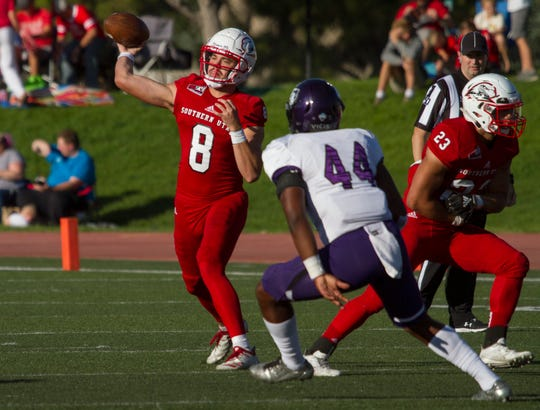Southern Utah University football defeats Stephen F. Austin 45-38 in overtime Saturday, Sept. 14, 2019.