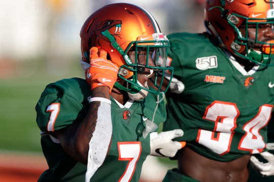 FAMU wide receiver George Webb (7) celebrates a touchdown.