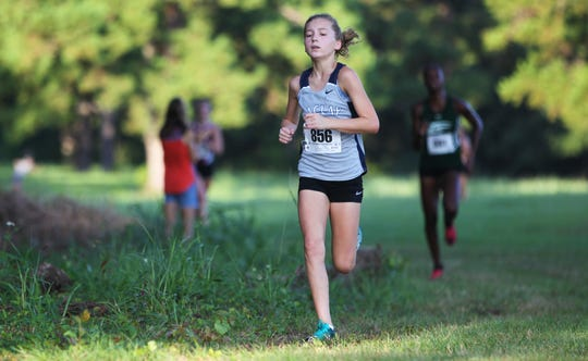 Maclay eighth-grader Gracie Koeppel took fourth at the Red Hills Invitational cross country meet at Elinor Klapp-Phipps Park on Saturday, Sept. 14, 2019.