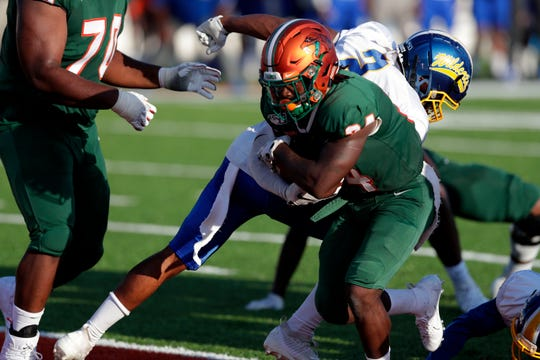 Florida A&M Rattlers running back Bo Kendrick (34) crosses into the end zone to score a touchdown versus the Fort Valley State Wildcats on Saturday, Sept. 14, 2019.