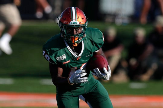 FAMU wide receiver Xavier Smith had 7 catches for 120 yards in the 39-7 win over Howard on Nov. 16 at Bragg Memorial Stadium.
